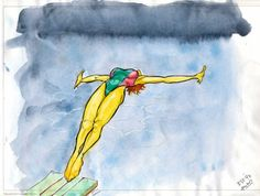 Jumping into the cool water, 1997. Aquarelle and black ink© justus-leonhardt