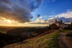 Sunset at Bathory Castle by Ľuboš Balažovič on Amazing Sunsets, Medieval Castle, Abandoned Buildings, Urban Decay, Monument Valley, Creepy, Explore, Nice, Places