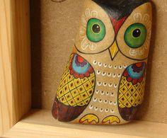 石趣部落原创手绘石头 创意礼物 可爱 猫头鹰 萌物 特价-淘宝网