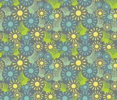 Kakapos amongst the flowers fabric by madex on Spoonflower - custom fabric