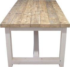 Tafel oude dikke steigerplanken white-wash onderstel (11120131203)
