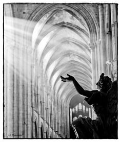 """""""Touching the Divine"""" by Mathieu Meunier.  Natural light in the Cathedral of Lisieux, France"""