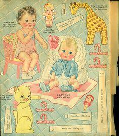 Paper Doll - Baby Sisters - Vintage Merrill Book #3444 - 1938