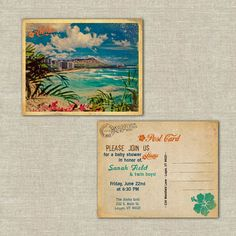 retro postcards, hawaiian luau invitations postcards, hawaiian, wedding rehearsal dinner, bridal shower, baby shower on Etsy, $70.00