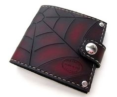 Custom Leather Red & Black Spider Web Snap Bifold Wallet