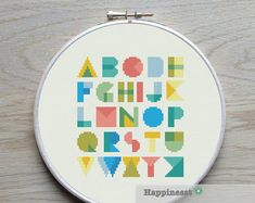 A modern alphabet pattern, font cooper black Try different color combinations and fabrics to create a new look every time!  The pattern comes as a PDF file that youll will be able to download immediately after purchase. In addition the PDF files are available in you Etsy account, under My Account and then Purchase after payment has been cleared. You get a pattern in black and white symbols, and a list of the floss colors youll need. You also get an PDF file with cross stitch instructions…