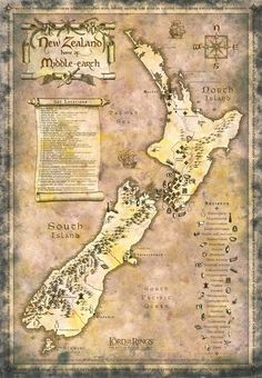 New Zealand Map LOTR style contains detailed set locations for tourists…