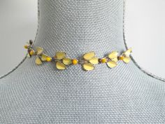 Mid Century Yellow Enamel Choker Necklace by looseendsvintage, $15.00