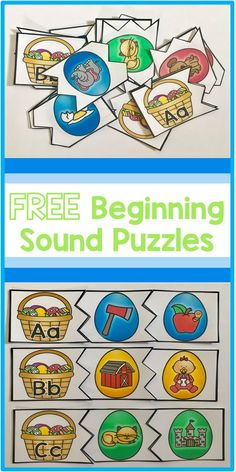 FREE beginning sounds alphabet puzzles. Makes a great Easter and spring time center for a preschool or kindergarten classroom.