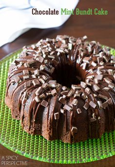Easy and Gorgeous Chocolate Mint Bundt Cake from the new and inspiring ebook Brilliant Bundt Cakes. This decadent Chocolate Mint Bundt Cake is filled with a