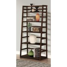 Simpli Home Acadian Solid Wood 63 in. x 30 in. Rustic Ladder Shelf Bookcase in Tobacco Brown - The Home Depot Ladder Shelving Unit, Ladder Bookshelf, 5 Shelf Bookcase, Wall Shelves, Bookshelves, Storage Shelves, Ladder Display, Pine Bookcase, Etagere Bookcase