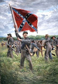 Battle flags Tennessee, painting by Don Troiani - The Unconquered - 1st Tennessee CSA