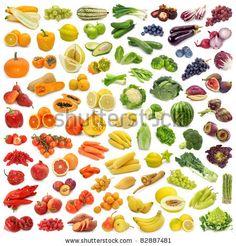 Bunte Mischung von Obst- und Gemüsesymbolen in farblicher Abstufung eines Regenbogens