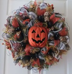 Fall Door Wreath, Fall Deco Mesh, Pumpkin wreath