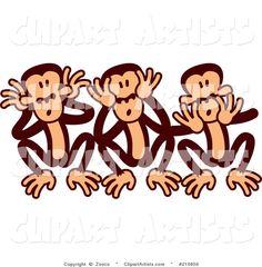 Goofy Three Wise Monkeys - Cartoon Vector #210850