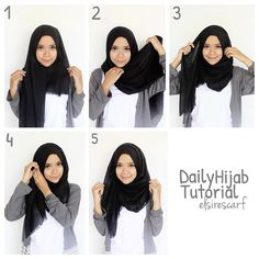 easy way to wear hijab with gown.Hijab style step by step tutorials. Square Hijab Tutorial, Simple Hijab Tutorial, Hijab Simple, Hijab Style Tutorial, Scarf Tutorial, Pashmina Hijab Tutorial, Hijab Casual, Stylish Hijab, Hijab Chic