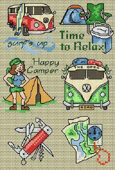 0 point de croix campeuse camping - cross stitch  camper