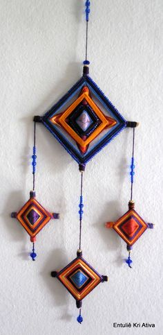 Ojos de Dios.                                                       … Hobbies And Crafts, Diy And Crafts, Crafts For Kids, Arts And Crafts, Mandala Yarn, God's Eye Craft, Gods Eye, Soft Sculpture, Yarn Crafts