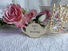Tea Pot with Love is Brewing sentiment by MyLatestCreations, $4.95