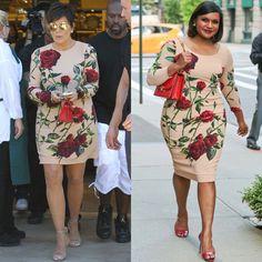 La temporada otoño trajo la tendencia de vestidos con estampado de rosas. ¿Qué te parece este modelo elegido por Mindy Kailing y Kriss Jenner? #fashion #faceoff #dress