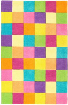 Color blocking!   Kidding Around 0420 Girl'S Color Blocks Multicolor Rug | Rug & Home