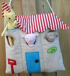 Sewing Animals Projects Peek-A-Boo Animal House Bag Softies - PDF Patterns Bonus Video: Elegant Bag — Perfect Circle Stitching by Nancy Zieman Softies, Sewing Toys, Baby Sewing, Sewing Crafts, Sew Baby, Craft Projects, Sewing Projects, Crafts For Kids, Fabric Toys