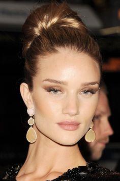 Rosie Huntington ~ top knot bun, dewy skin, bronze smokey eye, nude lip ~ perfection!