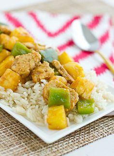sweet and sour tempeh  2 tbsp. soy sauce  1 tbsp. cornstarch  1/3 c. rice vinegar  1/4 c. ketchup  2 tbsp. brown sugar  1/2 c. water  1 tbsp. coconut oil  2 (8-ounce) packages tempeh, quartered and cut into thin strips  1 large green pepper, seeded and diced  2 c. fresh pineapple chunks  5 cloves garlic, sliced  cooked white rice, for serving