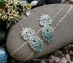 Vintage Style Lace Earrings - Fancy Victorian Scrolls in Mint Green Ombre (or choose color)