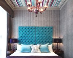 Hotel review: Flemings Mayfair, London     Love the turquoise headboard and colorful ceiling