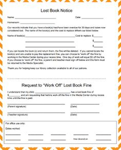 The Book Bug.....Lost Book notice with request to work off fine