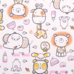 white baby animals flannel fabric Babies Joy Bundle of Joy