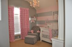Pink nursery curtains gray nursery curtains purple and pink striped wall room detail grey white baby . Baby Bedroom, Baby Room Decor, Girls Bedroom, Baby Rooms, Pink And Gray Nursery, Pink Grey, Striped Nursery, Pink Purple, Purple Baby