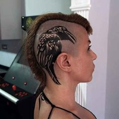 Giant Raven Head Tattoo Woman - http://tattootodesign.com/giant-raven-head-tattoo-woman/ | #Tattoo, #Tattooed, #Tattoos