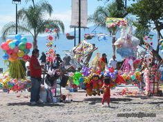 Local vendors selling their goods on the beach at Chapala, Mexico.
