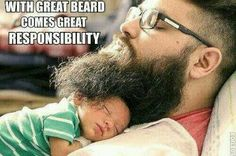 The Beard as Comforter: Strength, masculinity, and the peaceful repose of little ones. (My cats do this frequently too!) Also: see Big Beards For A Baby - great fatherhood site!