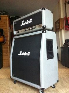 Goes with the silver Les Paul over there: A 1987 Marshall Silver Jubilee 25/50 half stack