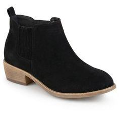 Women's Journee Collection Ramsey Faux Suede Stacked Heel Booties - Black 6