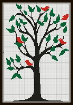 Cross Stitch Pattern Tree with birds modern contemporary pattern Silhouette Handmade pdf. $4.00, via Etsy.