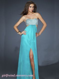 Elegant flowing chiffon sequins floor length gown - blue green(3 colors in) #coniefox #2016prom