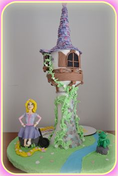 Rapunzel tangled tower birthday cake!! My version, the tower, Rapunzel and pascal!! Τούρτα Rapunzel!! Η δική μου εκδοχή με τον πύργο, την Rapunzel  και τον Pascal!!