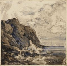 Arthur Quartley (American, b. France, 1839-1886) Rocky Shore, 1879 Oil on ceramic tile, 8 x 8 in. Inscribed at bottom right: Ye Marine. Initialled and dated, verso: AQ / Quartley April 2nd / 1879. Gift of the Baker/Pisano Collection.  2001.9.200