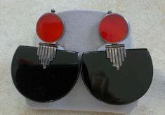 Art Deco Carnelian and Onyx Pierced Earrings