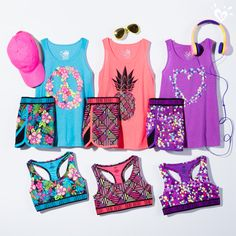 Our high-performance tanks, tees, shorts & accessories come in bright hues & eye catching prints.