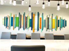Corporate Artwork | Modern conference room | Wall Decor Wood Wall Art | Modern Installation Art | Wall Sculpture | Large Art Installation | Rosemary Pierce Modern Art