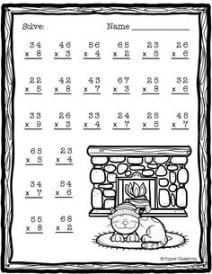 Need extra practice with multiplication? This set includes 10 pages of 2 digit by 1 digit multiplication with regrouping practice. An answer key for each page is included. Thanks for stopping by Copper Classroom. Two Digit Multiplication, Multiplication Worksheets, Multiplication Strategies, Math Fractions, Math Sheets, Third Grade Math, Math Numbers, Math For Kids, Elementary Math