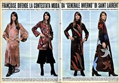 Françoise Hardy and the fall winter 70 YSL collection - Oggi Italy
