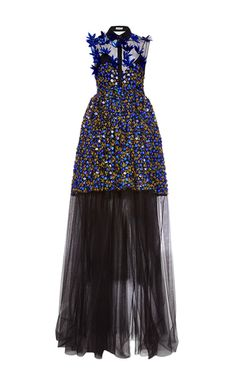 This sleeveless **Delpozo** gown is rendered in tulle three dimensional holographic embroidery throughout, a standard collar with a sheer yoke, and a mini length skirt with a pleated floor length sheer skirt with a train.    jαɢlαdy