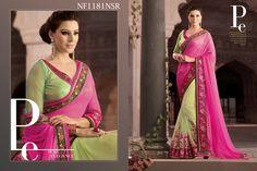#Superb #Pista #Green #Saree #With #Pink #Pallu #In #Georgette #And #Chiffon $110.18 www.fashionumang.com