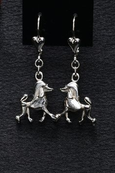 Sterling Silver Poodle Earrings by Donna Pizarro from the Animal Whimsey Line of Dog Jewelry and Poodle Jewelry